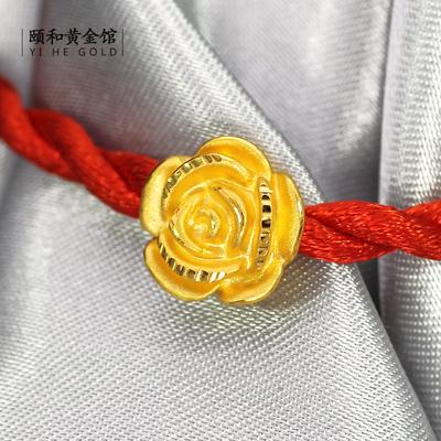 3D硬黄金999足金24K纯金福字玫瑰花转运珠路路通串珠 手链 女款