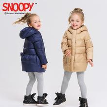 2017秋冬新款史努比儿童羽绒服女童短款羽绒服连帽纯色外套图片