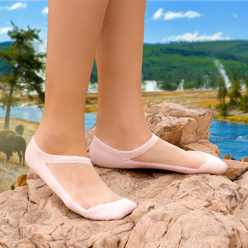 自然派 韩国水晶丝网面纯棉底隐形船袜棉丝袜女浅口薄短袜子