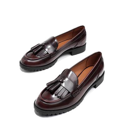 小ck女鞋2019新款单鞋女平底粗跟英伦复古流苏乐福鞋百搭布洛克鞋