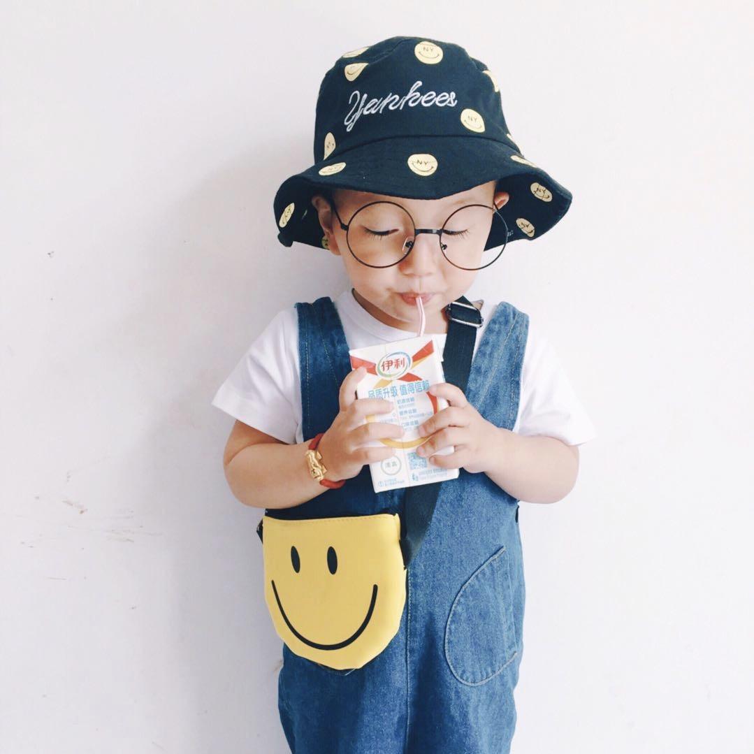 儿童帽子夏新款男童韩版宝宝渔夫帽防晒遮阳盆帽笑脸圆顶太阳帽子