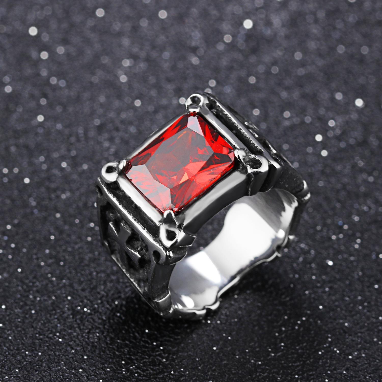 霸气复古镶嵌红宝石戒指钛钢戒指男士指环