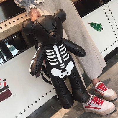 韩版暴力熊女包包2018春夏新款时尚小熊双肩包潮休闲个性骷髅背包包邮