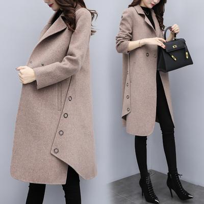 2018新款女装冬装宽松大码中长款毛呢外套女驼色a字呢子大衣加厚