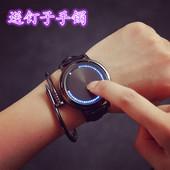 韩国高科技潮流概念个性创意男表韩版简约女学生led触屏夜光手表