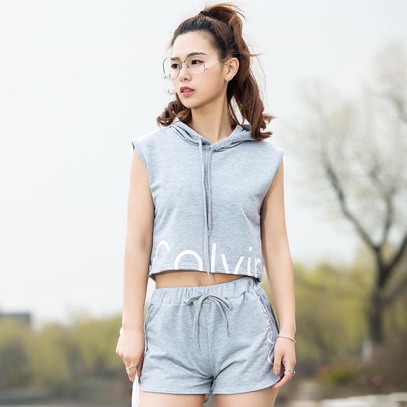 2017春秋夏欧美薄新款两件套T恤健身服短裤女瑜伽服跑步运动套装