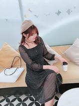 肉卷家大码连衣裙亮丝V领透视性感网纱显瘦礼服裙中长款秋季新款