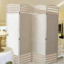 屏风隔断客厅时尚折屏移动简约现代玄关卧室餐厅白色实木镂空折叠