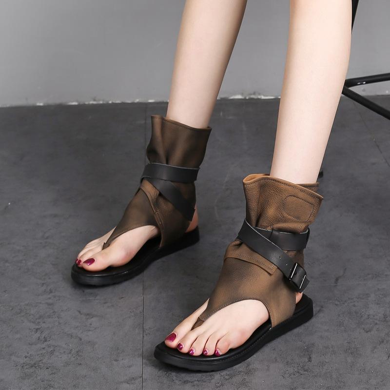 欧美风个性夹趾时尚高帮女凉鞋复古简约百搭休闲女鞋罗马手工凉靴