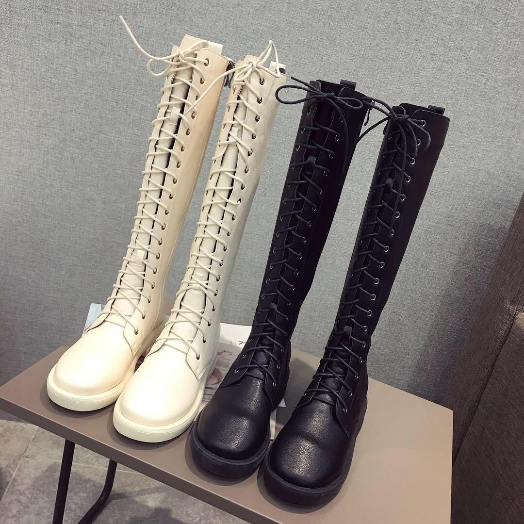 欧美真皮系带高筒靴侧拉链中筒靴长靴女粗跟英伦马丁靴显瘦骑士靴