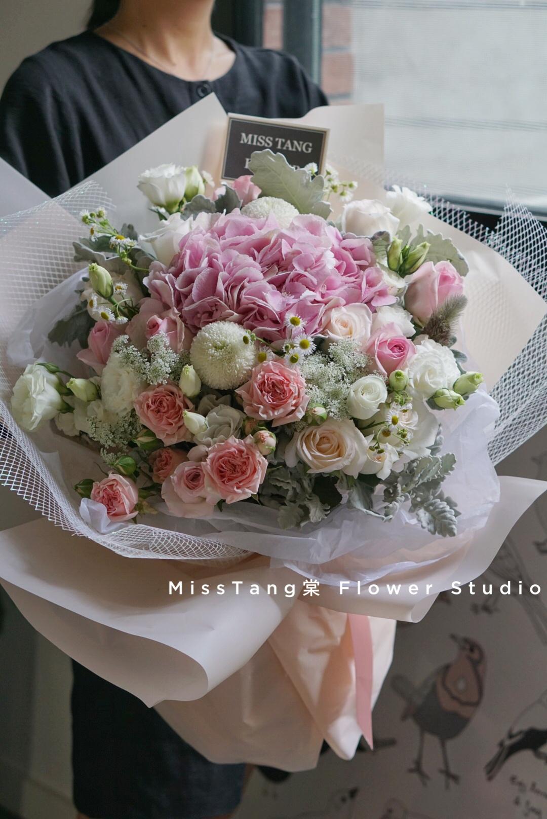 Miss棠毕业季生日礼物绣球玫瑰花束混搭鲜花速递武汉同城