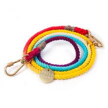 レインボーグラデーション織牽引ロープは私の動物のニューヨークインポート手動調整可能な犬の牽引を発見