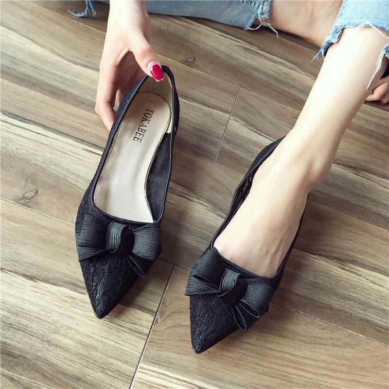 黑色蕾丝鞋女粗跟