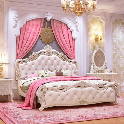 欧式床双人床实木大床欧式风格床雕花家具床主卧公主床奢华婚床实体店