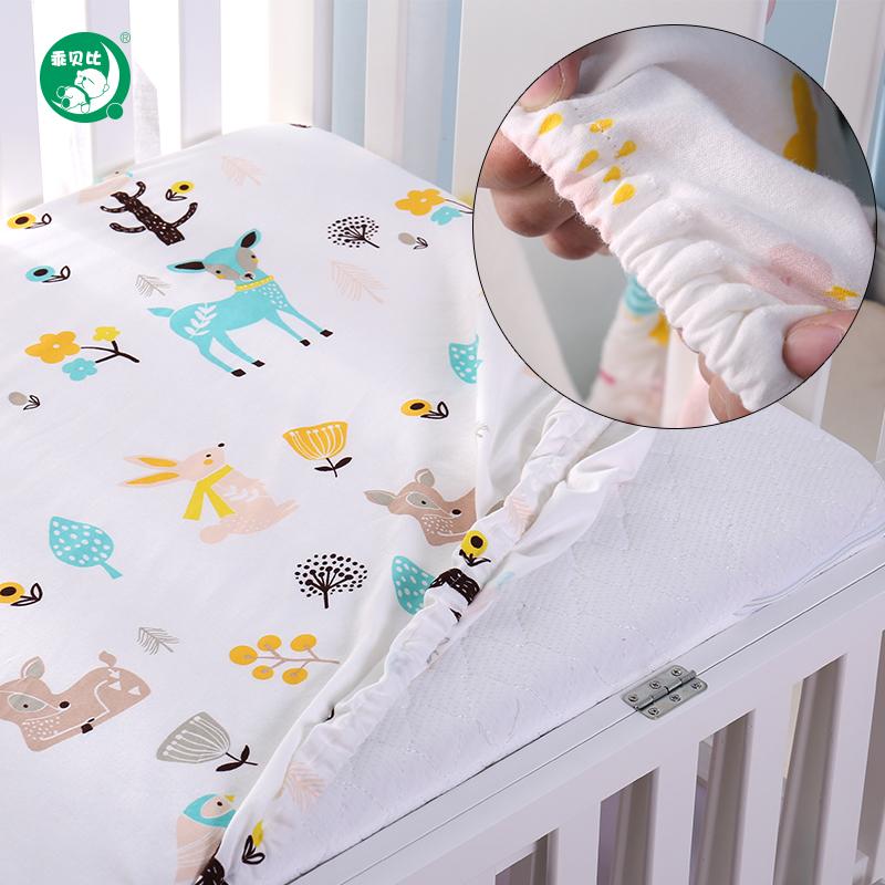 乖贝比婴儿床上用品婴儿床笠棉防水婴儿床单儿童隔尿透气宝宝床罩