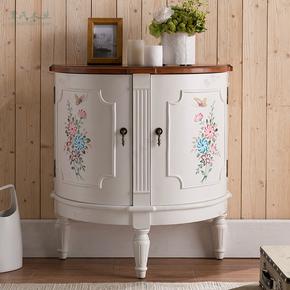 美式门厅玄关柜白色半圆柜彩绘欧式客厅装饰小柜子复古储物柜边柜