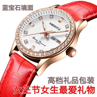 赛卡西欧超薄全自动机械手表双日历真皮皮带女士手表镶钻防水女款口碑如何