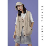 EUNINA summer cec vintage harbor casual horse clip women's 2019 sleeveless new 100-pack jacket ins tide