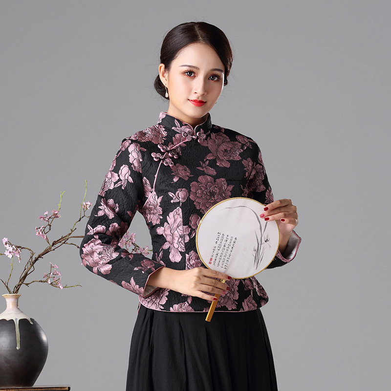 2018 new autumn and winter Chinese style Tang suit tops cheongsam tops quilted warm long