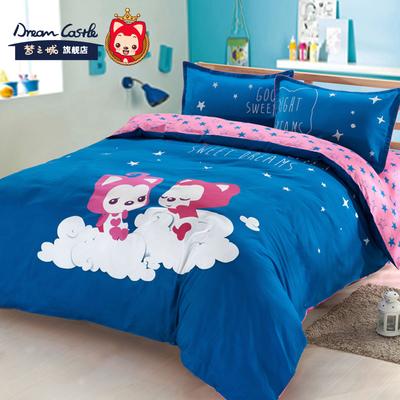 正版阿狸 星夜幻游四件套 棉动漫床上用品卡通床单被套活性套件