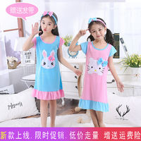 Summer children's nightdress little girl cotton short-sleeved thin section cute princess baby girl pajamas cartoon home service