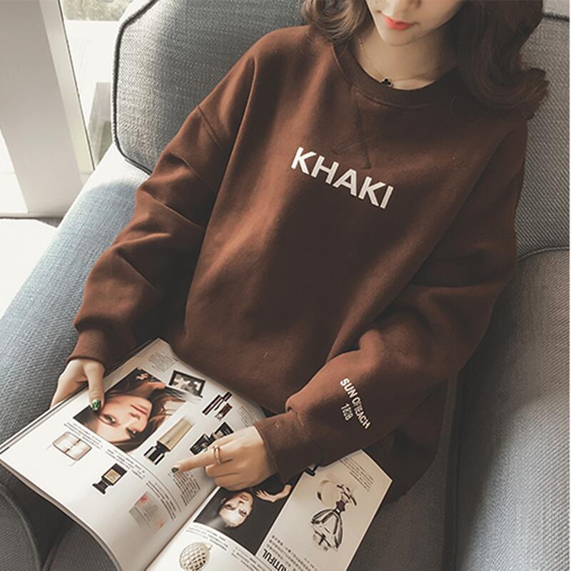 冬季上衣服韩国女装长袖T恤学生宽松打底衫加绒加厚字母保暖卫衣