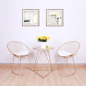 北欧镂空铁丝椅创意家具休闲小桌椅简约金属椅现代设计师椅子金色