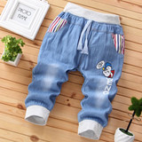 Children's cropped trousers thin section 2019 summer boy's breeches pants nine pants shorts in the big boy boy pants anti-mosquito