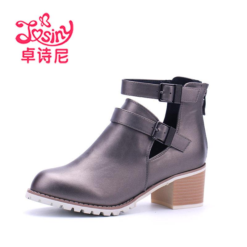 Josiny/卓诗尼春季新款镂空女靴欧美粗跟高跟短筒靴子女161164330