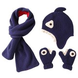 Autumn and winter children's wool hat scarf gloves three-piece cartoon shark baby hat scarf warm suit