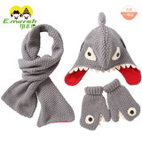 Imiren boy hat scarf gloves three-piece autumn and winter children cartoon shark scarf hat set thickening tide
