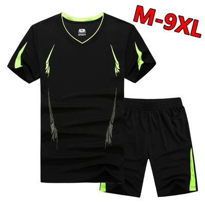 短袖运动套装男训练速干羽毛球健身加肥加大码薄款吸汗透气跑步服