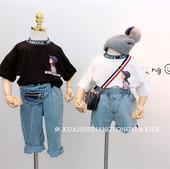 2019春夏新款 短袖 人物字母针织领潮款 时尚 童装 包邮 女童韩版 T恤衫