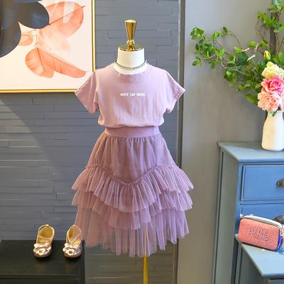 包邮童装2018夏季新款女童字母印花短袖+拼接纱裙气质两件套装