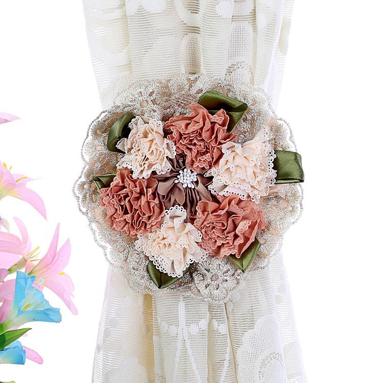 包邮韩版蕾丝花朵窗帘绑带挂钩 窗帘扣 扎束带绑花一对欧式窗帘夹