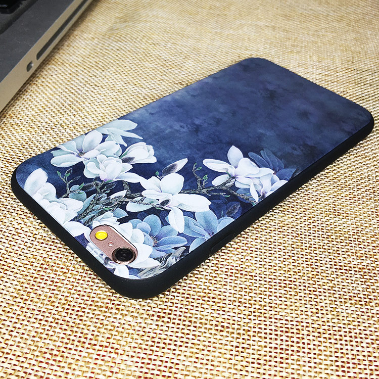 iphone6s plus文艺鲜花8plus玉兰浮雕手机壳苹果x新潮7p壳5s se软