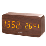 Effective retro wooden alarm clock multi-function LED voice control electronic clock quiet bedside nightlight students use alarm