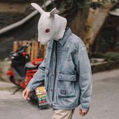 上衣2019新款 牛仔衣潮牌牛仔夹克衫 兔先森外套男韩版 潮流宽松工装图片