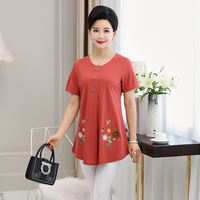 Middle-aged and old women's fat mother loaded summer thin t-shirt middle-aged loose short-sleeved plus fertilizer XL shirt 200 kg