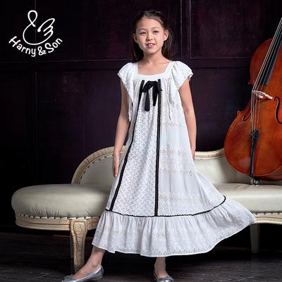 哈尼尚童装女童连衣裙夏淑女新款女孩纯棉蕾丝刺绣白色长裙
