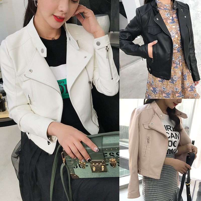 2018 new European station leather female short jacket spring and autumn Korean Slim machine