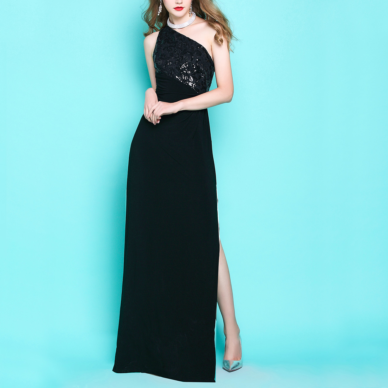 love the night ~ elegant Luxury retro sequins banquet  host long black dress