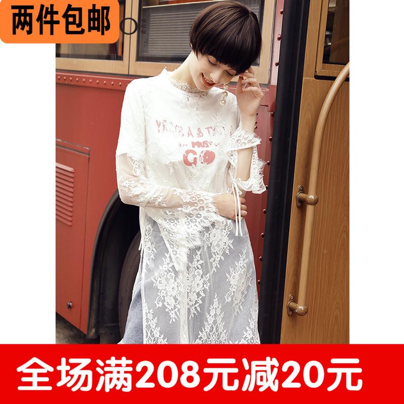 曼婭奴正品2017秋新女裝蕾絲兩件套連衣裙子MH34MC604