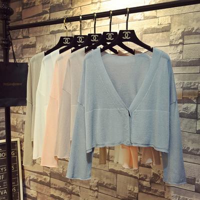 夏季chic慵懒风喇叭袖冰丝针织开衫女长袖宽松短款防晒衫薄款外搭
