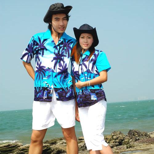 梦蓝椰海南岛服情侣沙滩服 三亚旅游服饰 夏威夷花衬衫01号/单件