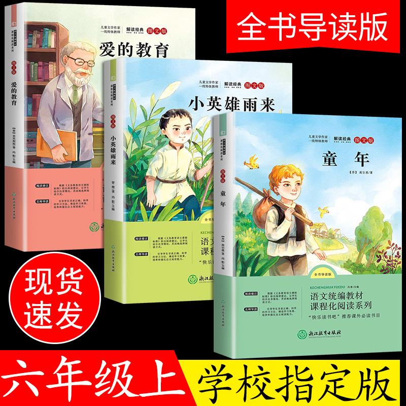 全套3册童年高尔基正版小英雄雨来爱的教育六年级上册课外书必读经典书目 指定阅读书籍经典名著书目适合小学生亚米高尔基原著完整