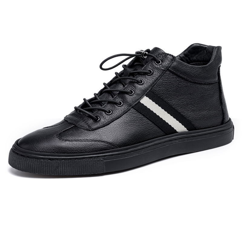 休闲鞋男韩版潮流板鞋百搭冬季保暖运动鞋子男士皮鞋嘻哈高帮鞋男