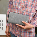 Domeron Wallet Men's Long Zipper Wallet Canvas Handbag Youth Wallet Handbag Student Mobile Bag