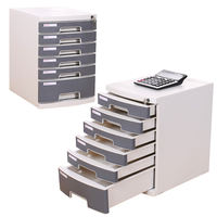 Effective file cabinet A4 desktop six-layer lock plastic drawer type information office storage file box file cabinet