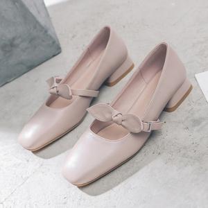 秋季方头蝴蝶结低跟单鞋女2019新款温柔风一字扣仙女平底玛丽珍鞋
